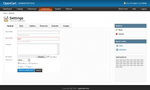 Prerelease screenshot OpenCart 1.3.5